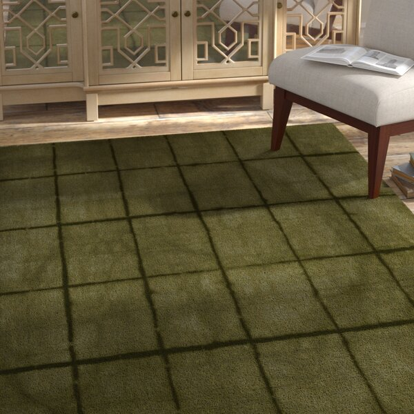 Steinsel Hand-Loomed Green/Black Area Rug by Bungalow Rose
