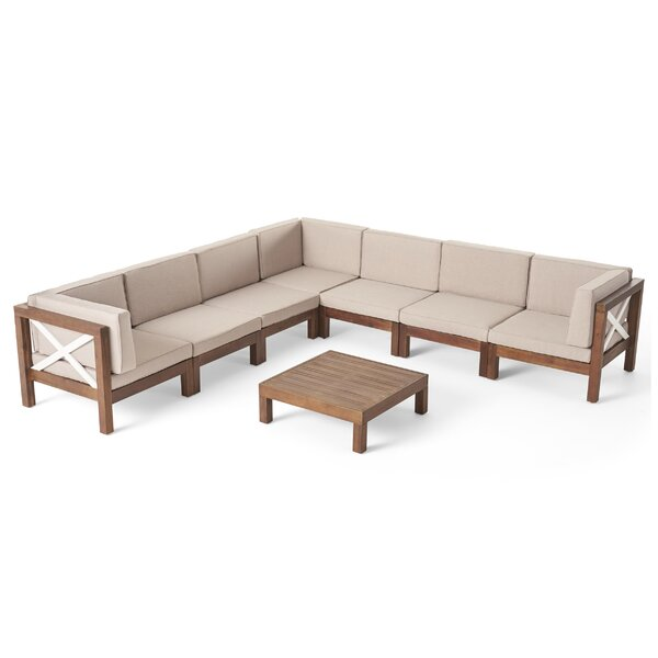 Pickering Outdoor 8 Piece Sectional Seating Group with Cushions by Longshore Tides