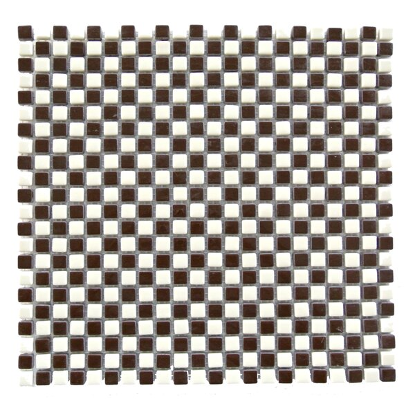 Full Body 0.5 x 0.5 Glass Mosaic Tile in Brown/White by Abolos