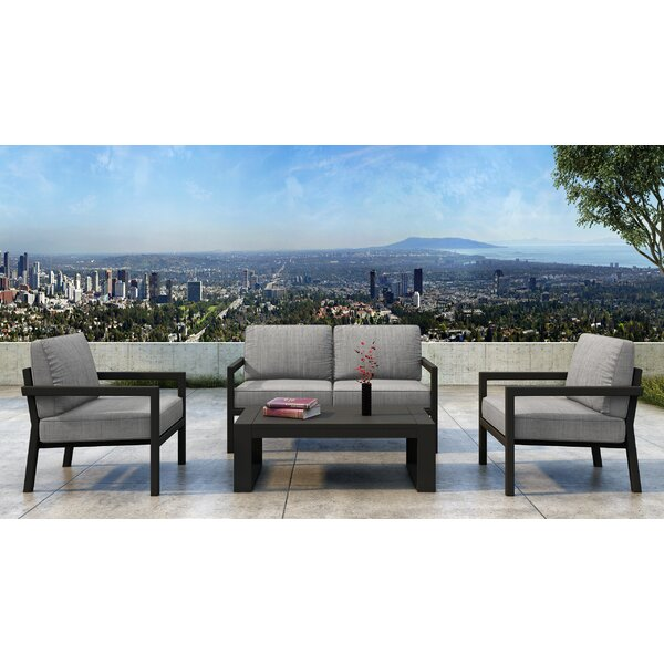 Iliana 4 Piece Deep Seating Group with Sunbrella Cushions (Set of 4) by 17 Stories