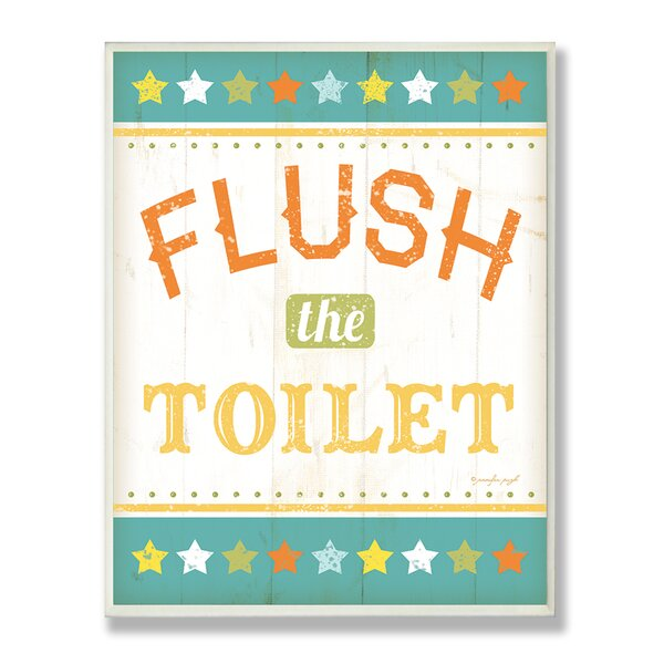 Flush the Toilet Rainbow Typography Bathroom Wall Plaque by Stupell Industries