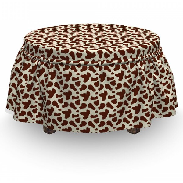 Cow Print Cattle Skin 2 Piece Box Cushion Ottoman Slipcover Set By East Urban Home