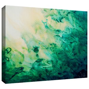 'Green Watery Abstract' Framed Painting Print on Wrapped Canvas by Orren Ellis