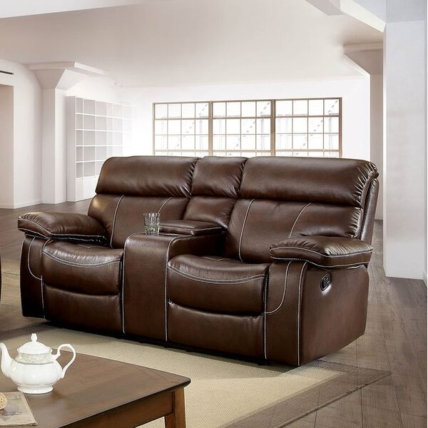 Helle Contemporary Love Seat Leather Manual Wall Hugger Recliner [Red Barrel Studio]