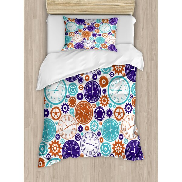 Clock Mechanism Roman Numbers Hour and Minute Hand Pattern Duvet Set by Ambesonne