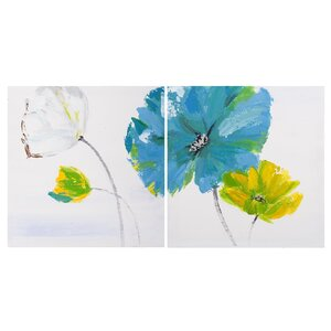 'Flower and Nature' 2 Piece Oil Painting Print Set on Canvas in Blue/Yellow/White (Set of 2) by La Kasa, LLC