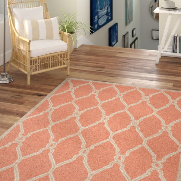Hagley Hand-Woven Wool Orange/Ivory Area Rug by Beachcrest Home