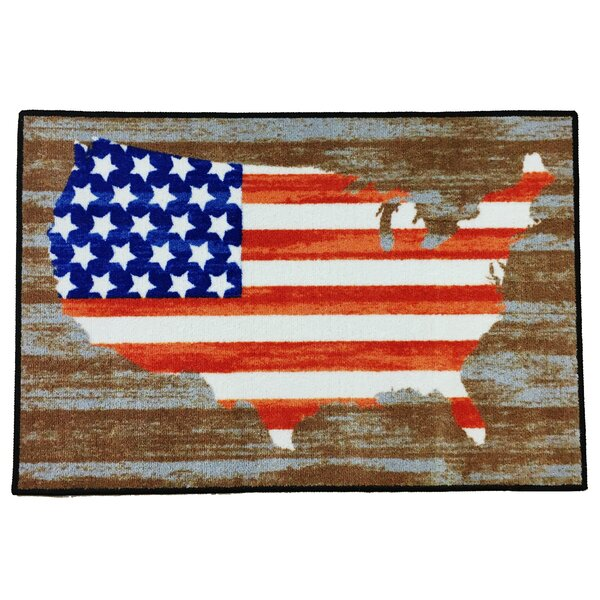 Sibley American Flag Blue/Red/Brown Area Rug by The Holiday Aisle