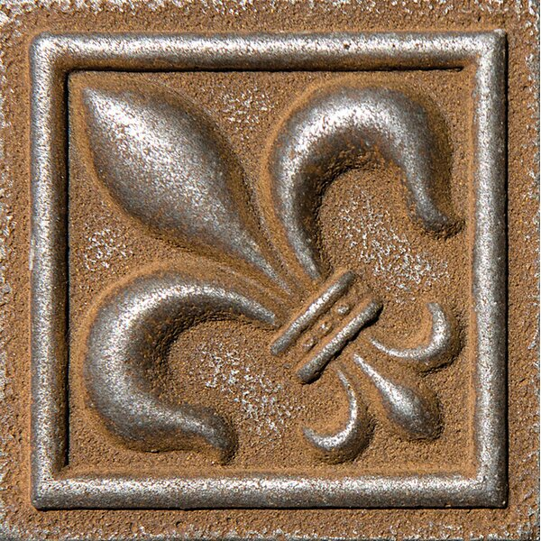 2 x 2 Fleur De Lis Deco Accent Tile in Rust by Parvatile