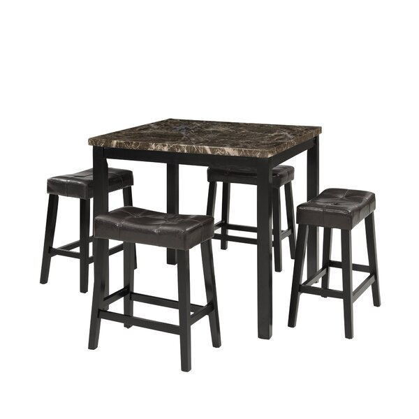 Millgrove 5 Piece Counter Height Solid Wood Dining Set by Winston Porter Winston Porter