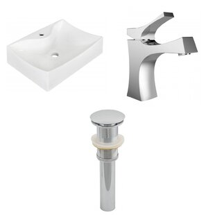 Ceramic Rectangular Bathroom Sink with Faucet ByAmerican Imaginations