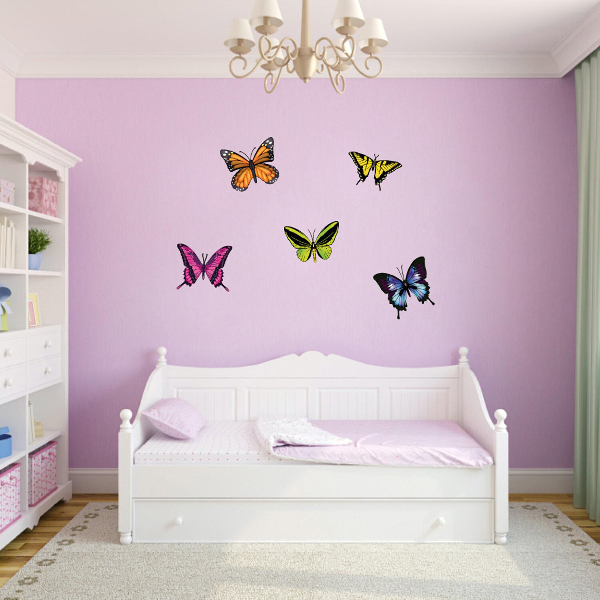 Mural Decal Girl No Joys on Earth with 3D Butterflies Vinyl Wall Art sticker