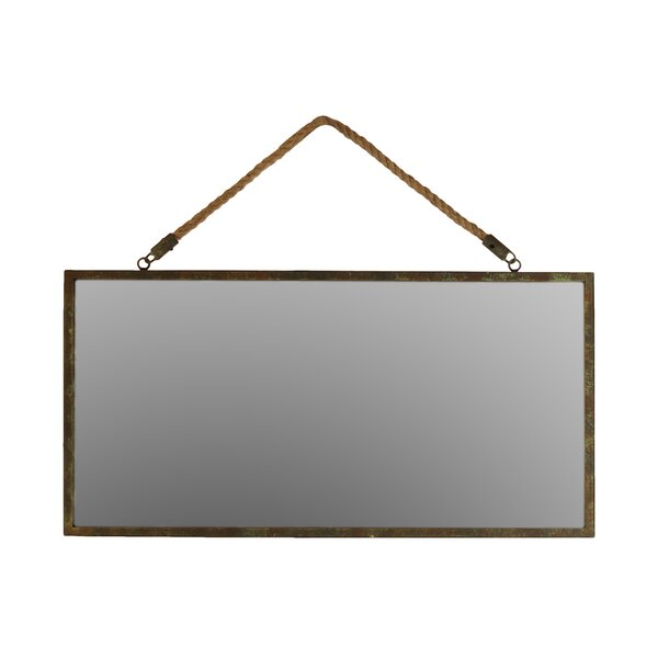 Metal Rectangular Wall Mirror with Rope Hangers in Bronze by Urban Trends
