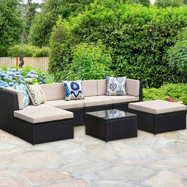 Adrit Patio 7 Piece Rattan Sectional Seating Group with Cushions by Latitude Run