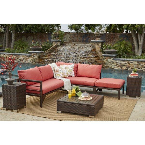 Sarver 2 Piece Rattan Sectional Seating Group with Cushions by Ivy Bronx