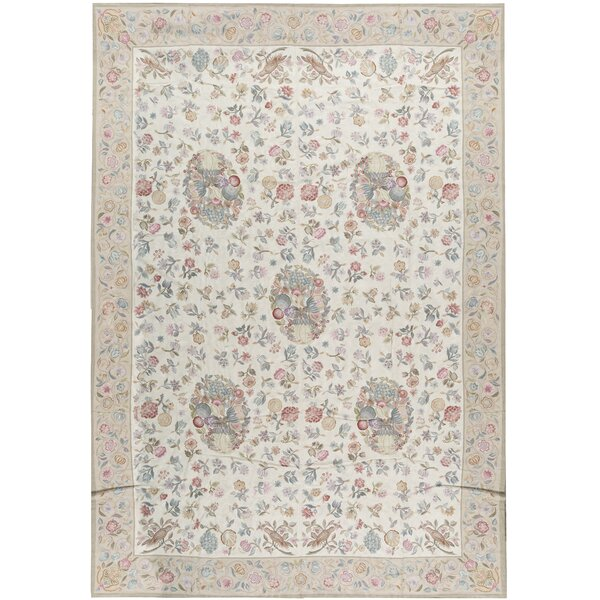 One-of-a-Kind Renaissance Pontremoli Hand-Knotted Cream 13'1 x 20'1 Wool Area Rug