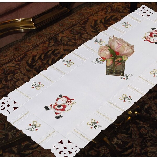 Beads and Bows Luxurious Lace Embroidered Table Runner by Violet Linen