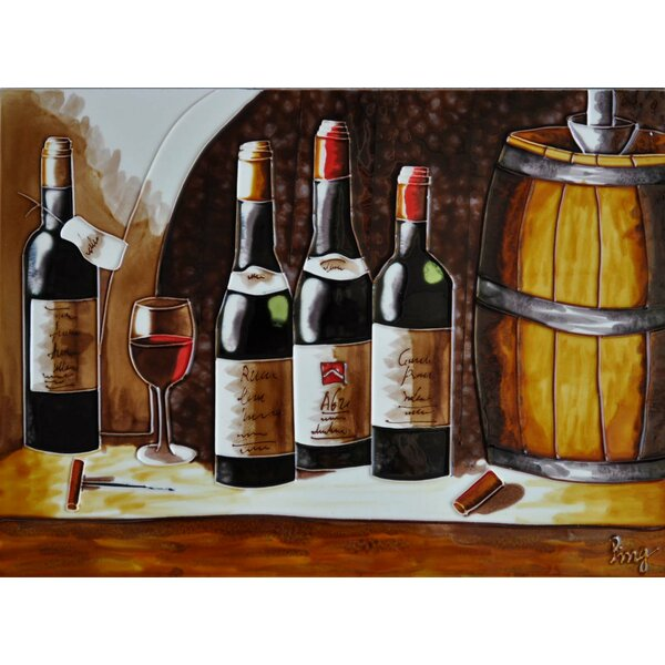 Bottles with Barrels Tile Wall Decor by Continental Art Center