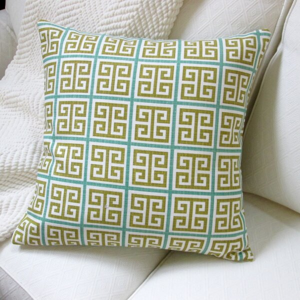 Greek Key Modern Geometric Cotton Pillow Cover by Artisan Pillows