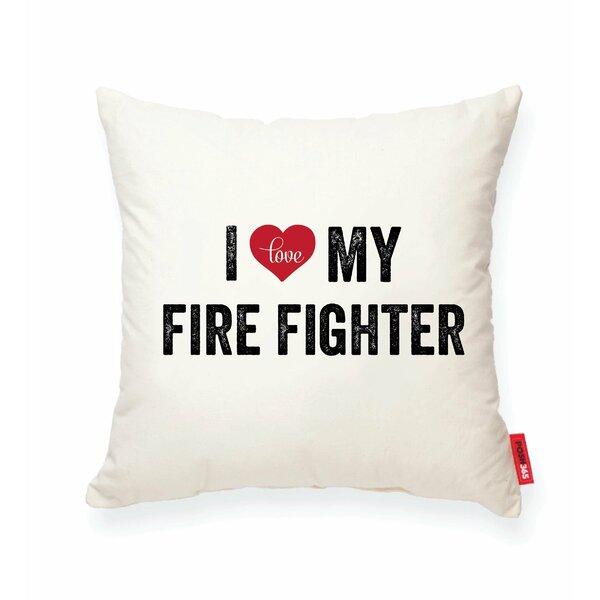 Pettitt I Heart Fireman Cotton Throw Pillow by Wrought Studio
