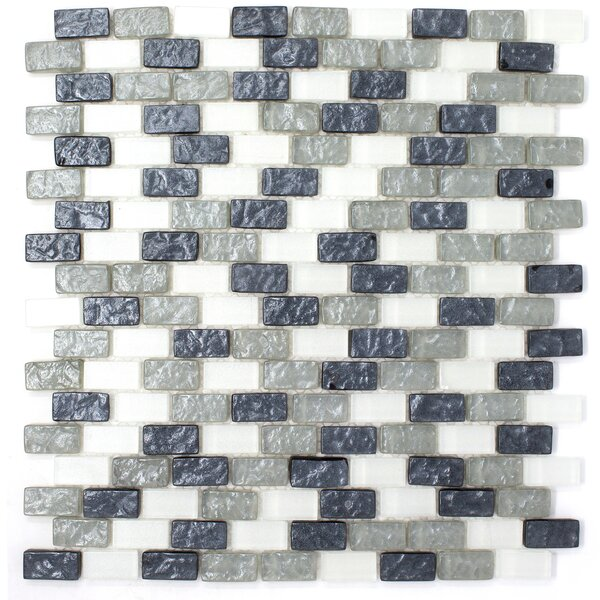 Brick Shell Effect 0.62 x 1.25 Glass Mosaic Tile in Gray by Multile