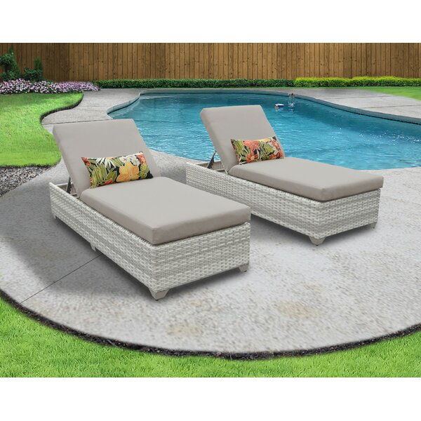 Genevieve Reclining Sun Lounger Set with Cushion (Set of 2) by Rosecliff Heights