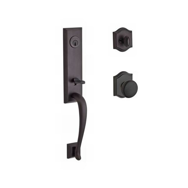 Del Mar Single Cylinder Handleset with Round Door Knob and Traditional Arch Rose by Baldwin