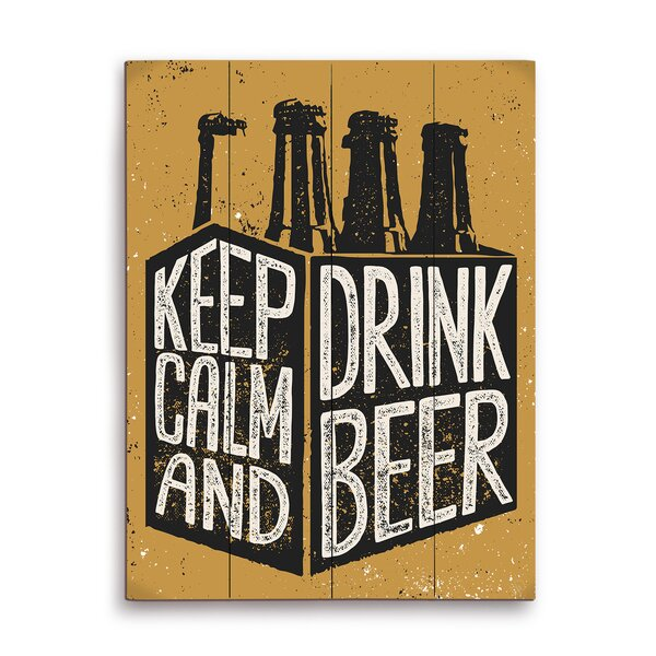 Keep Calm and Drink Beer Six Pack Textual Art Plaque by Click Wall Art
