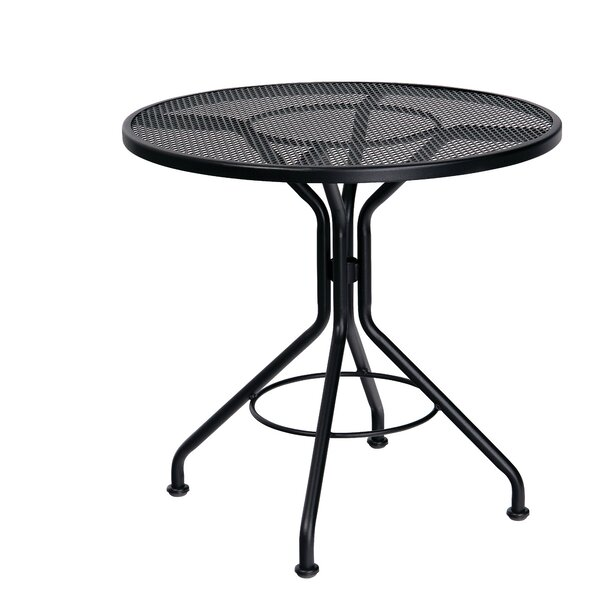 Mesh Top Contract Round Wrought Iron Dining Table by Woodard