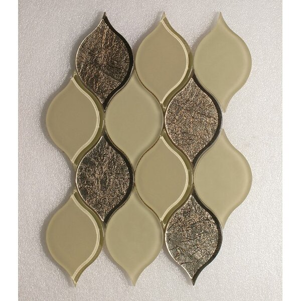 Tear Drop Mocha Frosted Wall 12 x 10.75 Glass Mosaic Tile in Gold Clear by Seven Seas