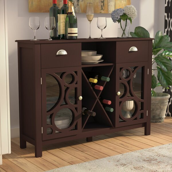 Strome Wood 16 Bottle Floor Bar with Wine Storage by Andover Mills Andover Mills