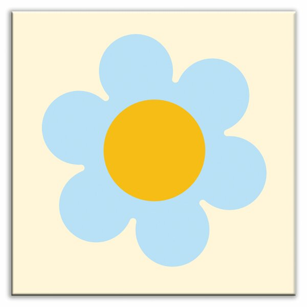Folksy Love 6 x 6 Glossy Decorative Tile in Retro Daisy by Oscar & Izzy