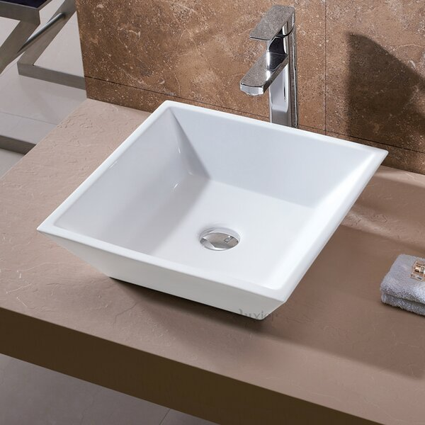L-006 Bathroom Ceramic Square Vessel Bathroom Sink by Luxier