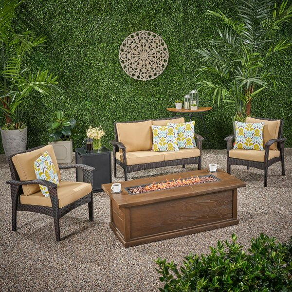 Trevino Outdoor 5 Piece Sofa Seating Group with Cushions by Bayou Breeze