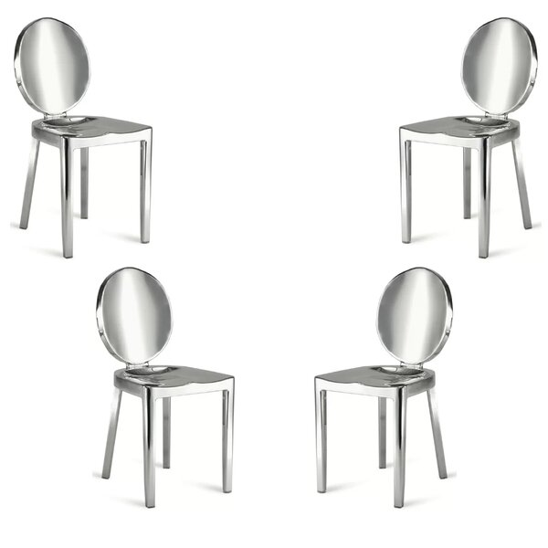 Stainles Steel Stacking Patio Dining Chair (Set of 4) by Everly Quinn