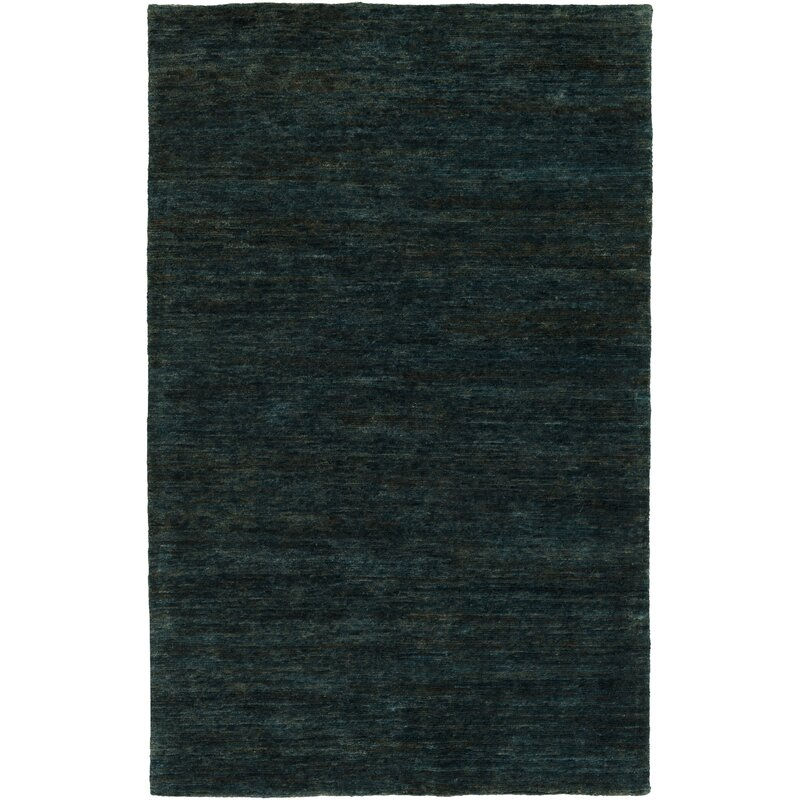 Nondoue Hand Knotted Dark Green Area Rug
