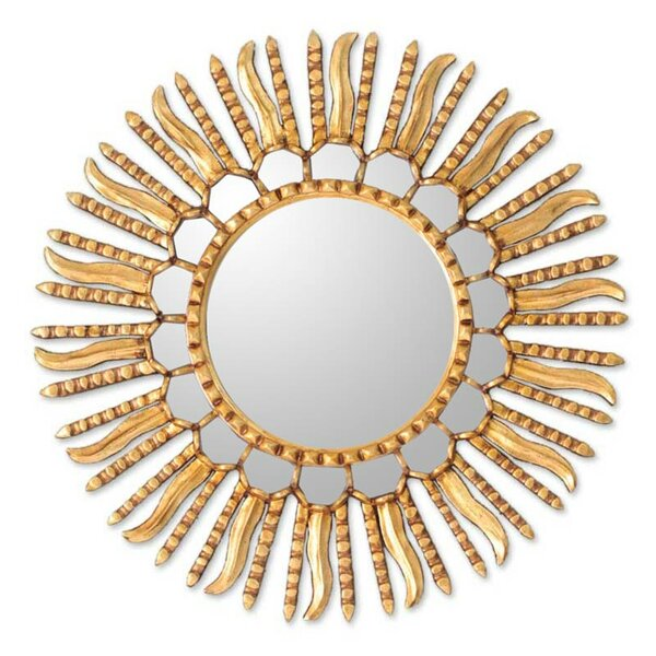 Unique Bronze Leaf Round Gilded Wall Mirror by Novica