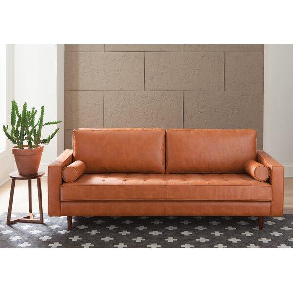 Charmant Oxblood Leather Sofa   Wayfair