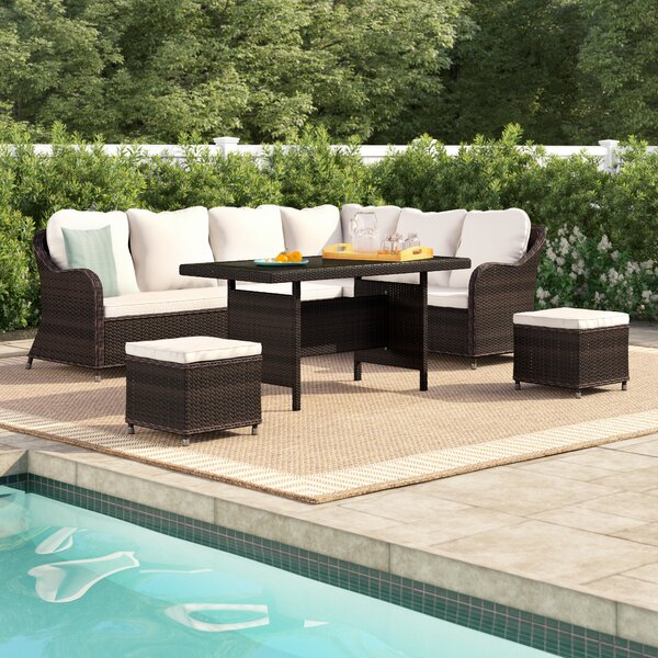 Lisbeth 5 Piece Rattan Sectional Seating Group with Cushions by Andover Mills