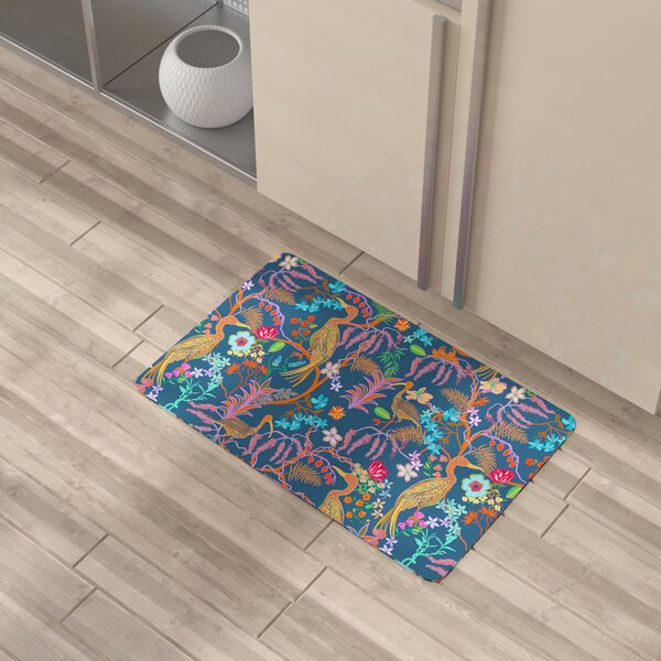 Shuntae Exotic Flowers and Birds Kitchen Mat by Bayou Breeze