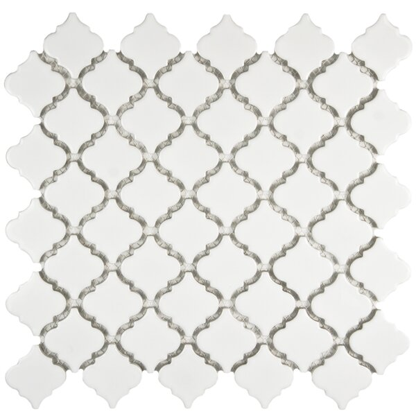 Pharsalia 2 x 2.25 Porcelain Mosaic Tile in Glossy White by EliteTile