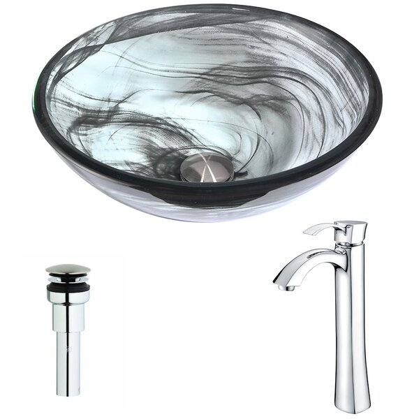 Mezzo Glass Circular Vessel Bathroom Sink with Faucet