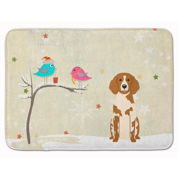 Christmas Presents Brittany Spaniel Memory Foam Bath Rug by The Holiday Aisle