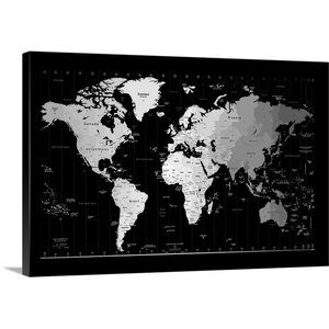 'World Timezone Map' by Michael Tompsett Graphic Art on Wrapped Canvas by Great Big Canvas