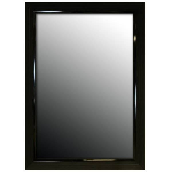 Glossy Black Stepped Petite Wall Mirror by Second Look Mirrors