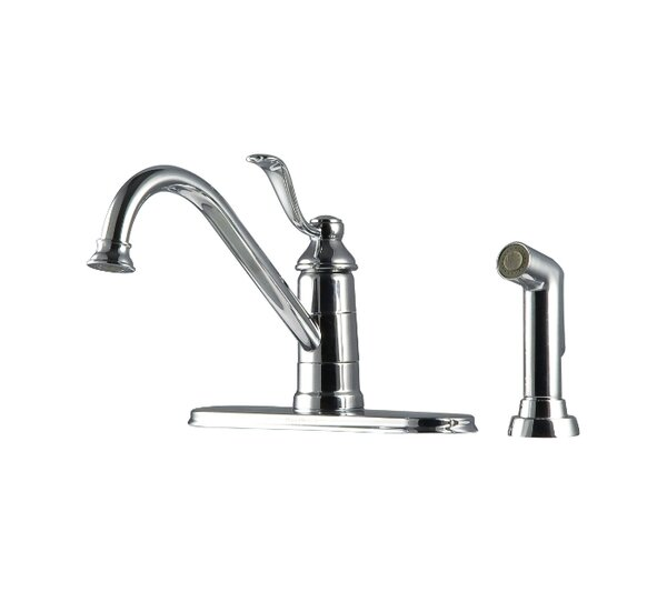 Portland Single Handle Deck Mounted Kitchen Faucet with Side Spray by Pfister