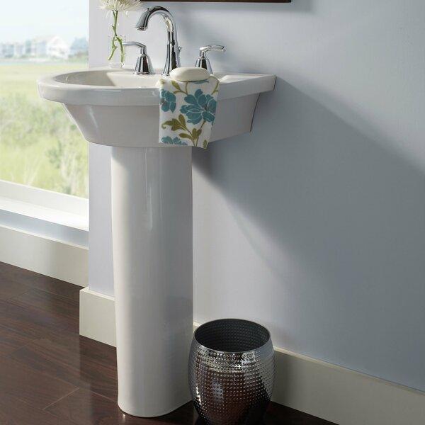 Tropic Petite Ceramic 21 U-Shape Pedestal Bathroom Sink and Overflow by American Standard