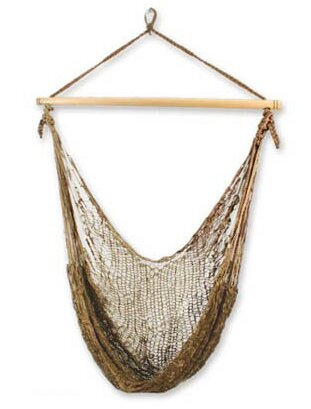 Single Person Autumn Bronze Hand-Woven Mayan Artists of the Yucatan Nylon With Accessories Included Swinging Chair Hammock by Novica