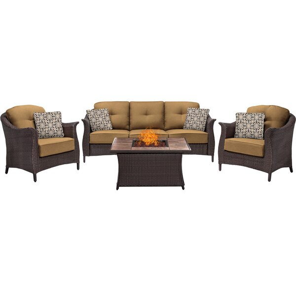 Daigle 4 Piece Sunbrella Sofa Set with Cushions by Darby Home Co