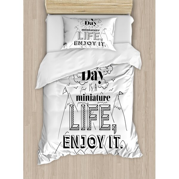 Quote Positive Life Message Mountains Sun Clouds River Birds Hand Drawn Duvet Set by East Urban Home